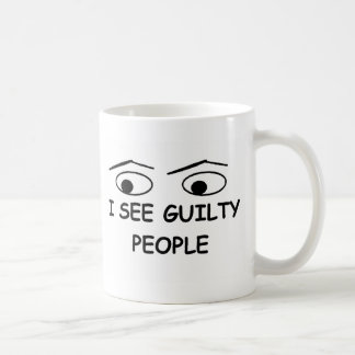 I see guilty people basic white mug