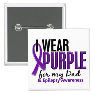 I Wear Purple For My Dad 10 Epilepsy 15 Cm Square Badge