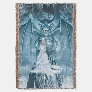 Ice Queen and Dragon Throw Blanket