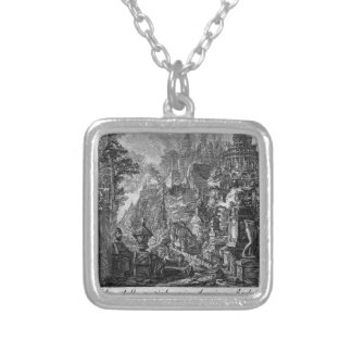 Idea of the ancient Via Appia and Ardeatina Square Pendant Necklace
