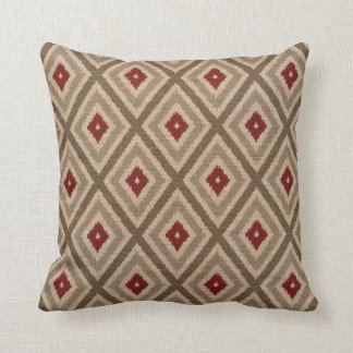 Ikat Tribal Diamond Pattern Khaki Red Tan Cushion