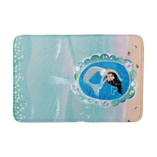 Illustration of a Mermaid's mirror w Bubble Kiss Bath Mats
