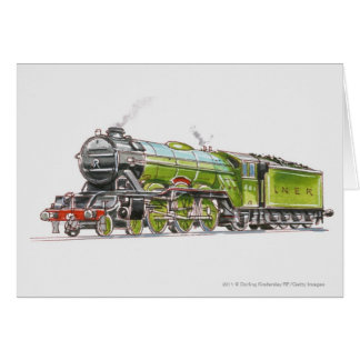 Illustration of the Flying Scotsman train Greeting Card