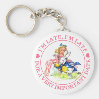I'M LATE, I'M LATE, FOR A VERY IMPORTANT DATE! BASIC ROUND BUTTON KEY RING