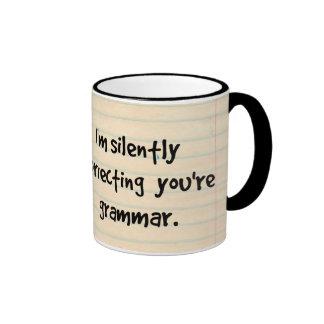 I'm Silently Correcting Your Grammar Wise Owl Ringer Mug