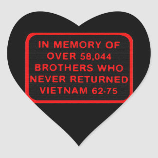 In Memory of Vietnam KIA MIA Patch Sicker Heart Sticker