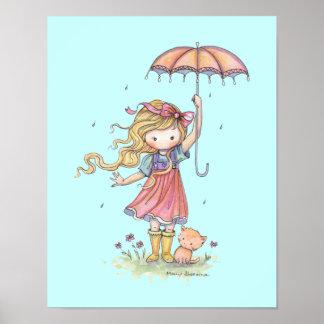 In the Rain Little Girl and Kitten Nursery Art Poster