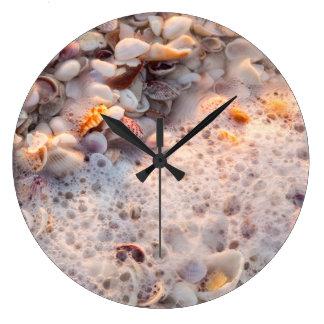 Incoming Surf And Seashells On Sanibel Island Wall Clocks