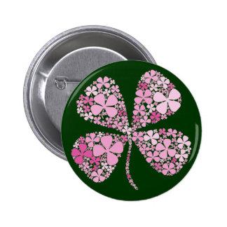 Infinitely Lucky Pink Clover 6 Cm Round Badge