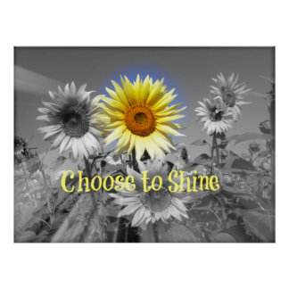 Inspirational Choose to Shine Quote with Sunflower Poster