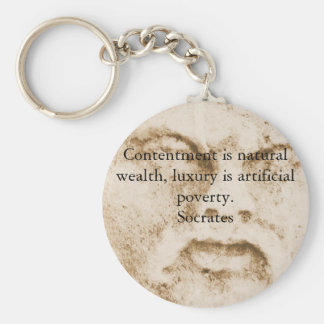 Inspirational Socrates Quote Basic Round Button Key Ring