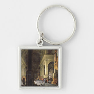 Interior of a Temple, 1652 Silver-Colored Square Key Ring