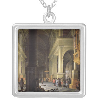 Interior of a Temple, 1652 Square Pendant Necklace