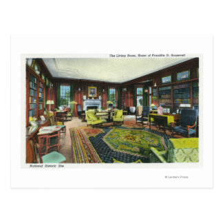 Interior View of FDR's Living Room Postcard