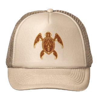 Intricate Golden Red Sea Turtle Cap