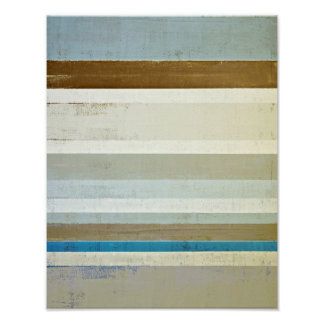 'Invent' Blue and Beige Abstract Art Poster