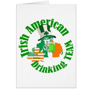 Irish american drinking team note card