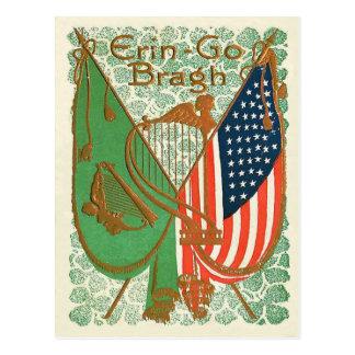 Irish American Flag Harp of Erin Shamrock Postcard