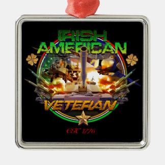 Irish American Veteran Pride Silver-Colored Square Decoration