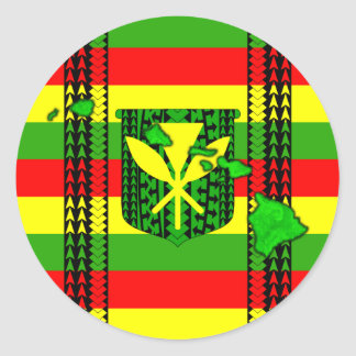 Island Tribal Kanaka Maoli Flag Round Sticker