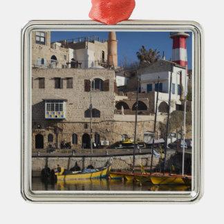 Israel, Tel Aviv, Jaffa, Jaffa Old Port Silver-Colored Square Decoration