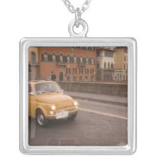 Italy, Florence. Fiat 800 Rally crosses Arno Square Pendant Necklace