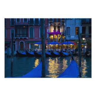 Italy, Venice, Night View Along the Grand Art Photo