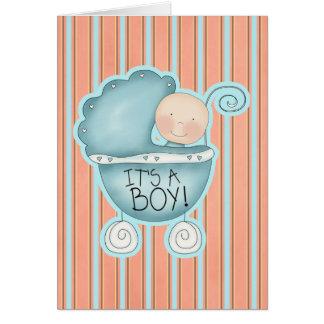 It's a Boy! Blue Baby Buggy Congratulations Card
