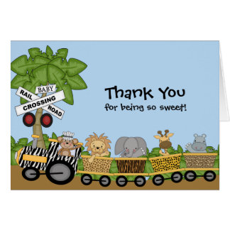 It's a Jungle Baby Train Baby Shower Thank You Note Card