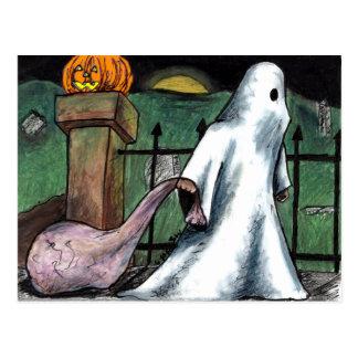 Jack O' Lantern Ghost Costume Cemetery Candy Postcard