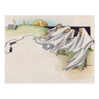 Jack O Lantern Scarecrow Cemetery Postcard
