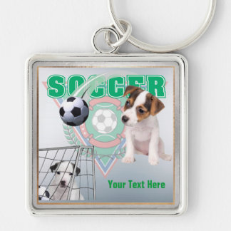 Jack Russel Puppies Soccer Design Square Key Chain