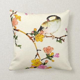 Japanese Colorful Flowers & Bird Throw Cushion