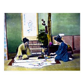 Japanese Ladies Painting a Kimono Traditional Postcard