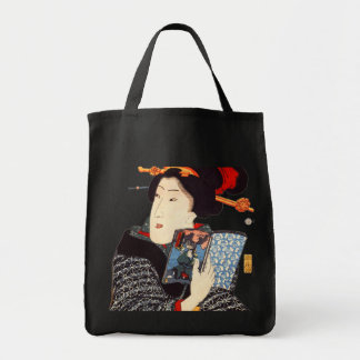 Japanese Woman Reading Grocery Tote Bag