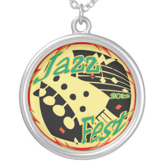 Jazz fest Guitar 12 Round Pendant Necklace