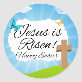 Jesus is Risen, Christian Easter Round Sticker