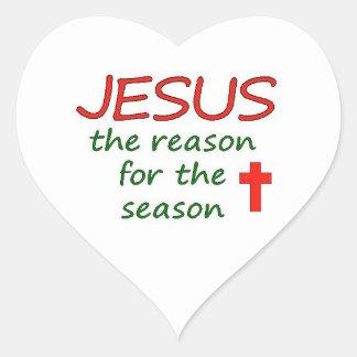 JESUS Reason for Season Heart Sticker