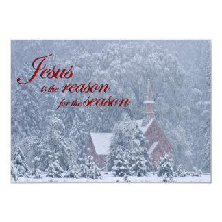 Jesus this Season - Yosemite Chapel in Snowstorm 13 Cm X 18 Cm Invitation Card
