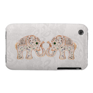 Jewel Elephants Photo Paisley Lace iPhone 3G Case