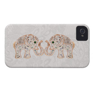 Jewel Elephants Photo & Paisley Lace iPhone 4 Case