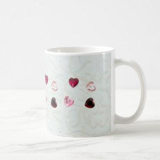 Jewel Heart on White Floral Mug