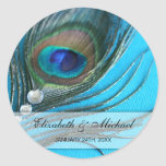Jewel Peacock Feather Wedding Favour Label Round Sticker