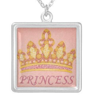 Jeweled Princess Crown by Chariklia Zaris Square Pendant Necklace