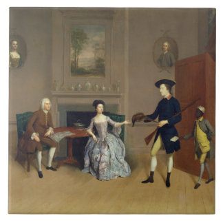 John Orde, with his wife Anne, and his eldest Son, Large Square Tile