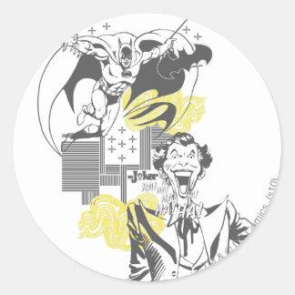Joker and Batman Comic Collage Round Sticker