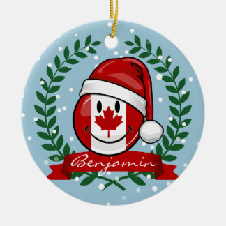 Jolly Canadian Flag Christmas Style Round Ceramic Decoration