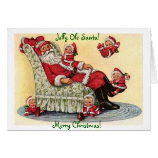 Jolly Ole Santa Christmas Holiday Greeting Card