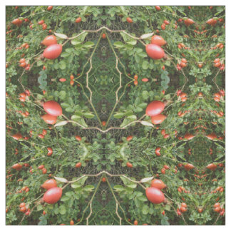 Juicy Red Rose Hips Patterned Fabric