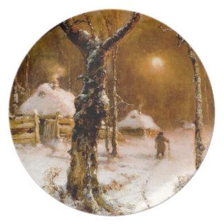 Julius Klever: Winter Night Walk Plate